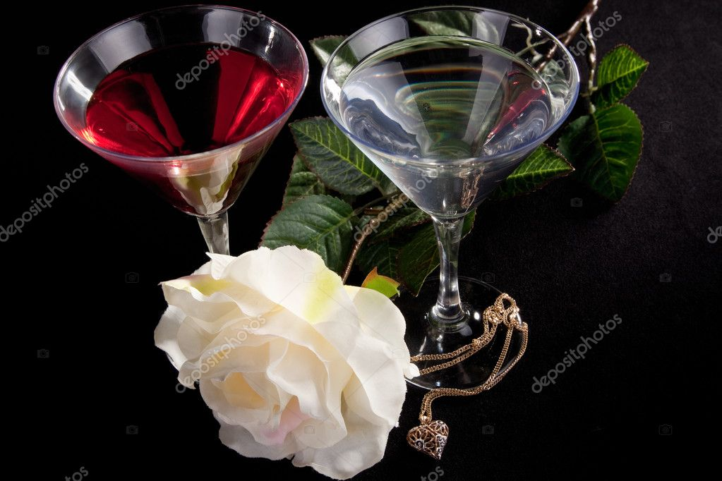 Rose and two glasses of cocktails on a white background  Stock Photo #2878847