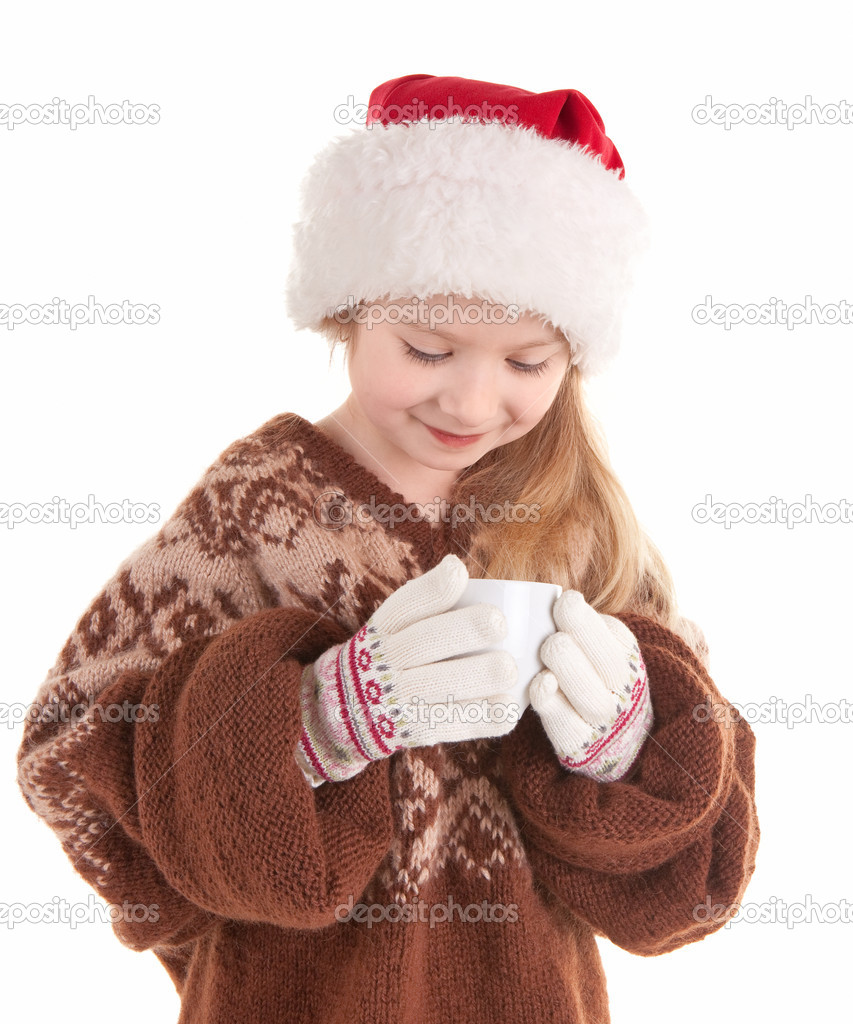 Girl in a sweater, Santa Claus hat and with cup — Stock Photo #2879120