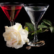 Rose and two glasses of cocktails — Foto Stock