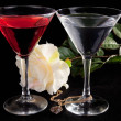 Rose and two glasses of cocktails — Stock Photo #2886225