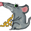 Mouse with the piece of cheese — Stock Photo