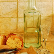 Stock Photo: Bottle, wineglasses, bread and salt
