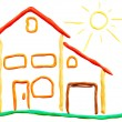 Plasticine cottage and sun — Stock Photo #2886781