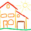 Royalty-Free Stock Photo: Plasticine cottage and sun
