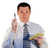 Portret van man met een pen — Stockfoto
