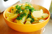 Boiled potato with a fresh dill — Stock Photo