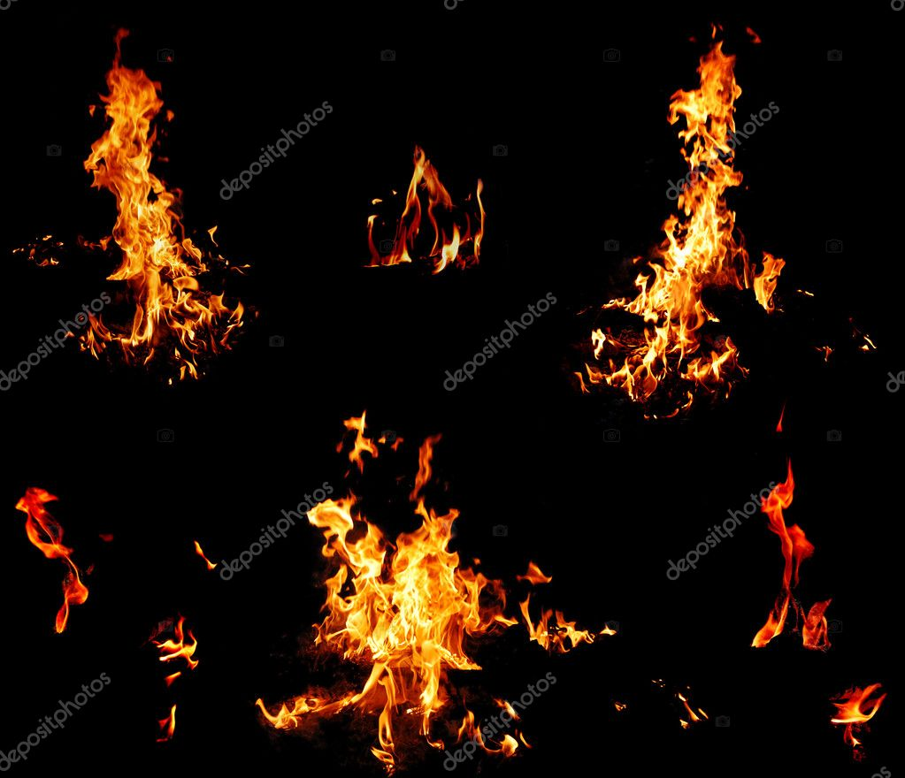 Red fire flame on a black background — Stock Photo #2886576