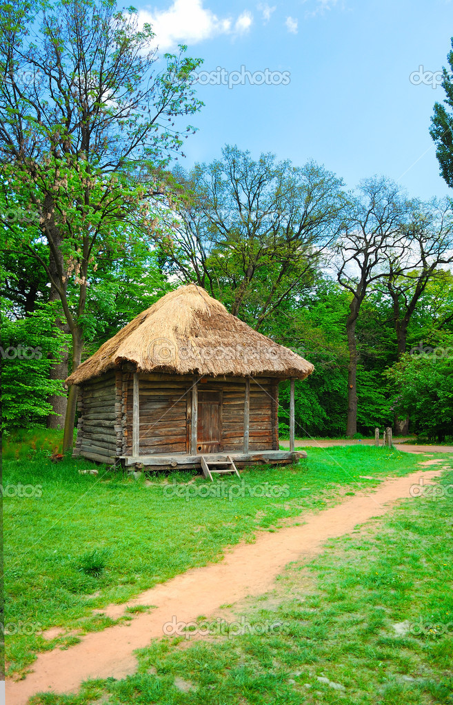 Cabin of poor peasant in a national park Pirogovo (Ukraine)  Stock Photo #2886609