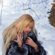 Blonde and snow — Stock Photo