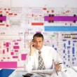 Engineer- planner speak telephone - Foto Stock