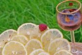 Light alcoholic drink and juicy lemon — Stock Photo