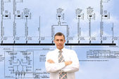 Professional engineer designer admiring size generate electric fundamental scheme — Stock Photo