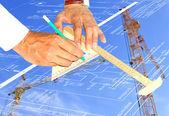 Tecnologia de energia nova em construção — Foto Stock