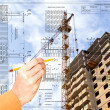 Projection -initial preparatory stage in construction new building — Stock Photo