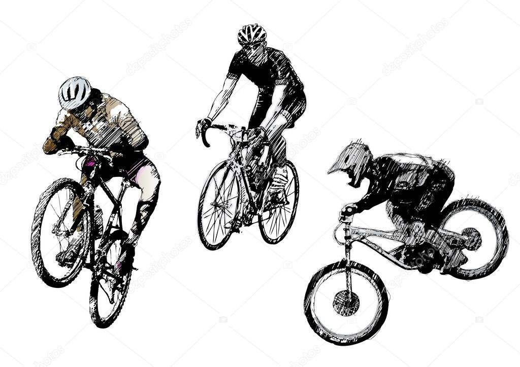 Sketching of he differents bikers in the vectors — Stock Vector #2849584