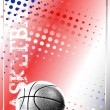 Stock Vector: Basketball red background