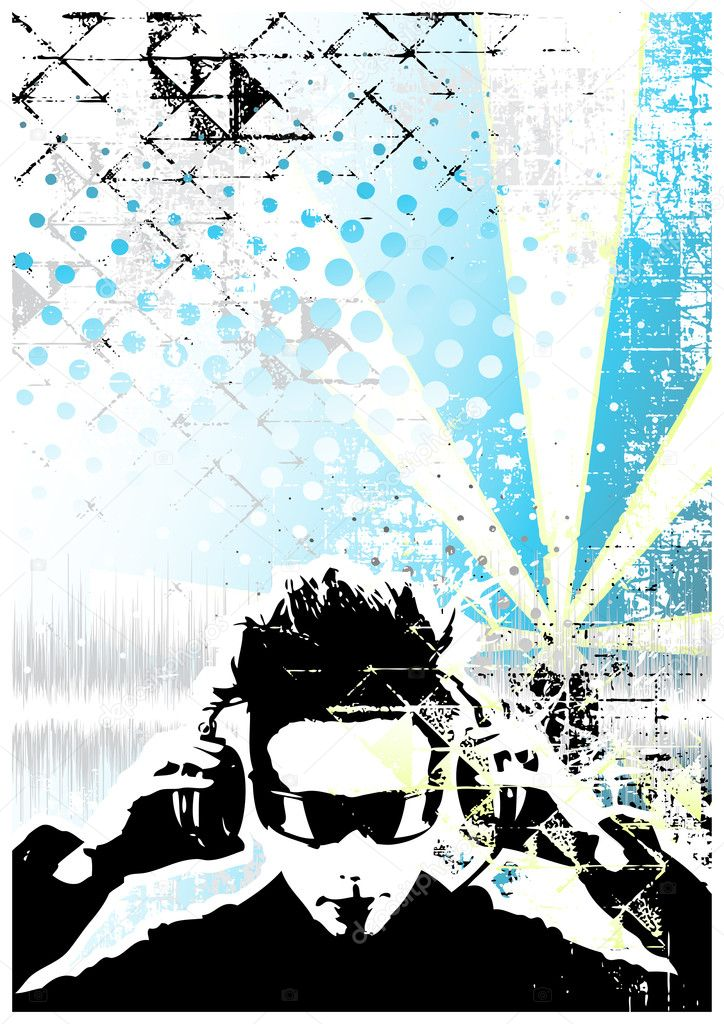 Dj blue poster background   Stock Vector #2899709