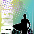 Stock Vector: Surfing golden poster background 1