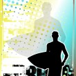 Surfing golden poster background 2 - Stock Vector