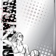 Volleyball sketching poster background — Stockvektor