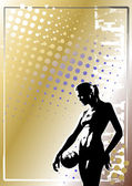 Volleyball golden poster background 6 — Stock Vector