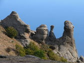 Stones at top of the Crimean mountains. — Stock Photo