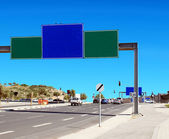 Blank RoadSign near the highway — Stock Photo
