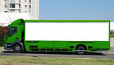 Green Truck with Blank panel — Stock Photo