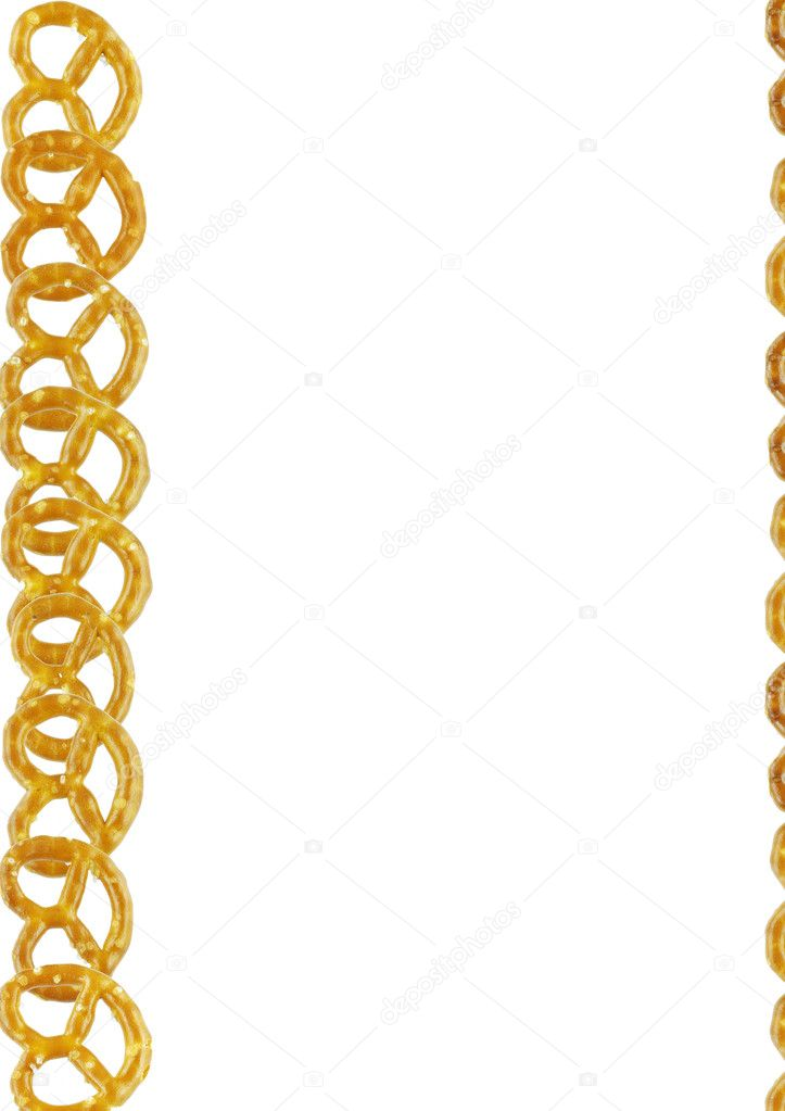 Small brown pretzels frame on a white background — Stock Photo #2869569