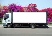 A Blank white Sign on a white truck — Stock Photo