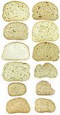 Docena las rebanadas de pan aislado en blanco — Foto de Stock
