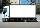 White Truck with Blank panel — Stock Photo