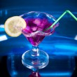 Cocktail drink on blue — Stock fotografie