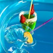 Swimming pool drinks — Stock Photo