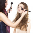 Model and make-up artist — Stock Photo