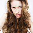 Stock Photo: Portrait of long haired young woman