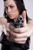 Gun At Womans Head — Stock Photo