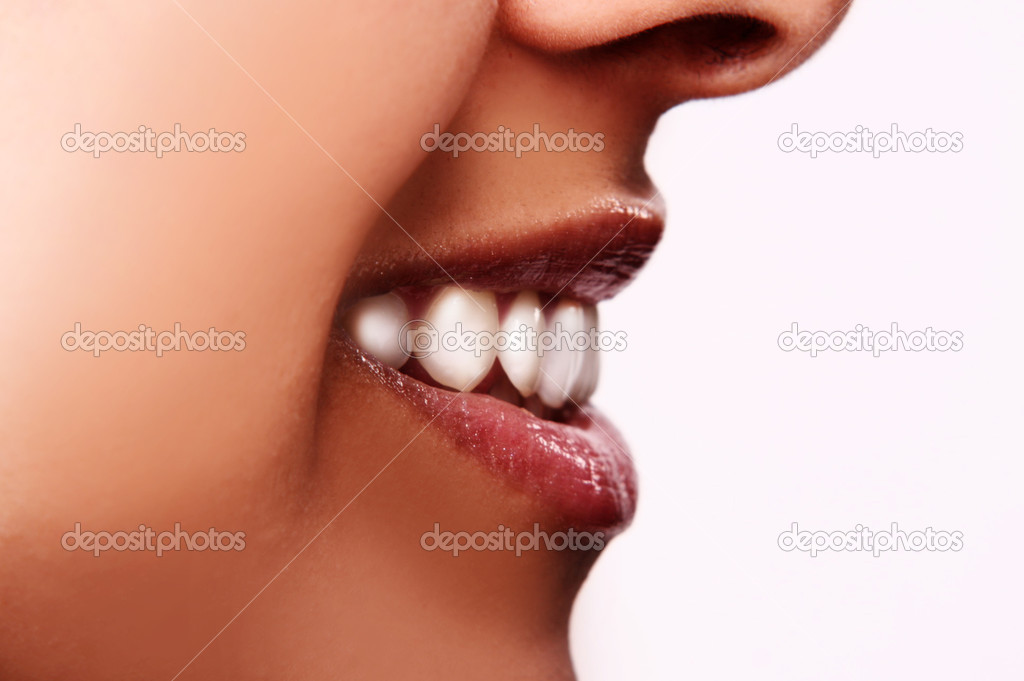 Smiling woman mouth with great teeth. Over white background — Stock Photo #3012961