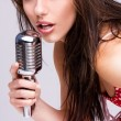 Sexy Girl singing in retro mic — Stock Photo #3022152