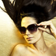 gold sunglasses — Stock Photo
