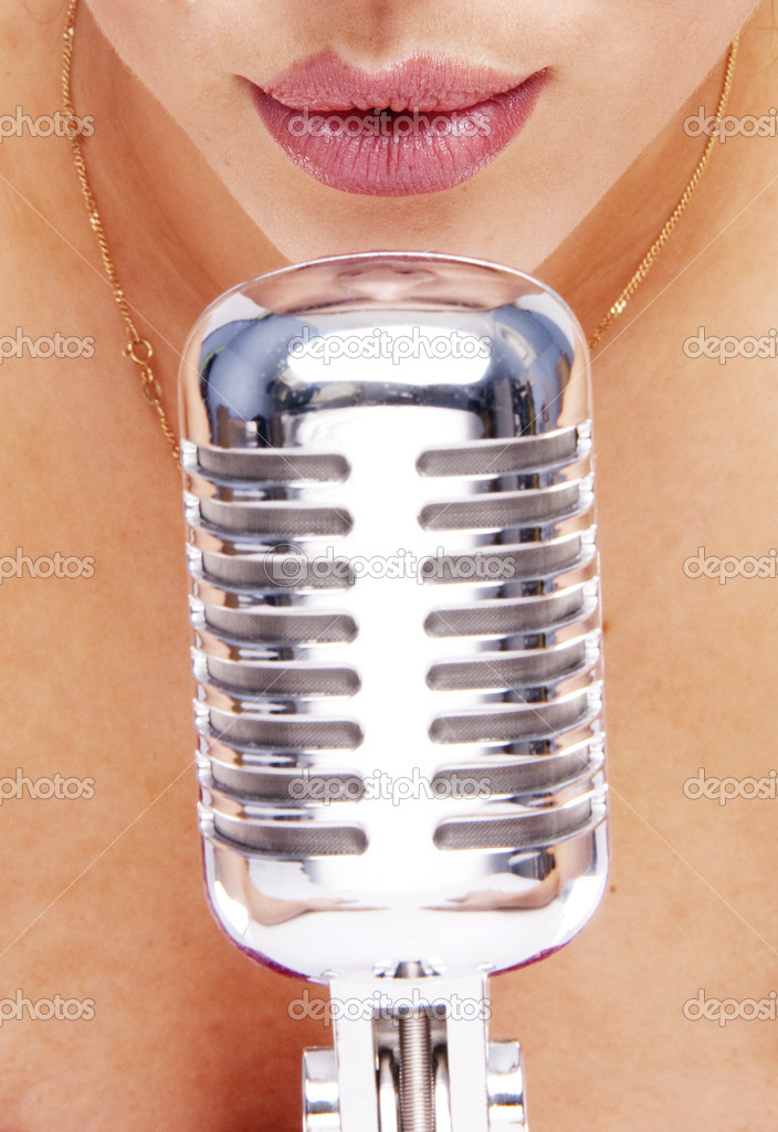 Beauty woman with nice lips close-up with old shoot vintage microphone  — Stock Photo #3022132