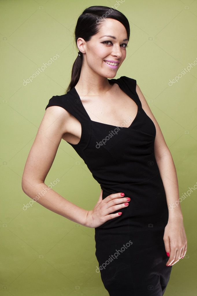 Sexy fashion brunette woman in black dress — Stock Photo #3022298