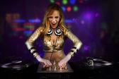 Beautiful DJ girl — Stock Photo