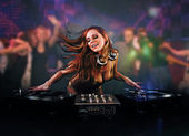 Beautiful DJ girl — Foto de Stock