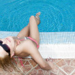 Royalty-Free Stock Photo: Blonde at swimming pool