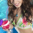 Royalty-Free Stock Photo: Woman with cocktail in pool