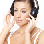 Woman listen music — Stock Photo