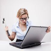 Angry businesswoman — Stockfoto