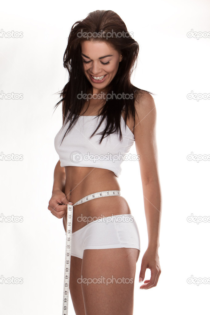Young beautiful woman with measure tape on white — Stock Photo #3697141