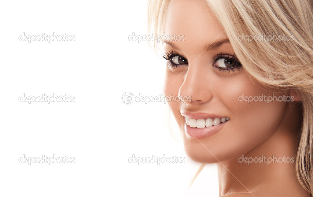 Image with beautiful smiling blonde girl on white background closeup — Foto de Stock   #3746735